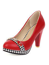 cheap -Women's Heels Chunky Heel Round Toe PU Casual / Minimalism Spring & Summer Black / White / Red / Color Block