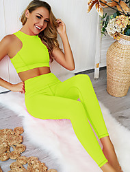 cheap -Women's 2-Piece Activewear Set Workout Outfits Athletic 2pcs High Waist Nylon Breathable Quick Dry Soft Fitness Gym Workout Running Jogging Sportswear Sport Bra With Running Pants Black Yellow Pink