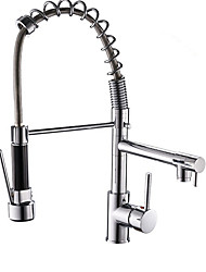 cheap -Kitchen faucet - Single Handle Two Holes Electroplated Pull-out / Pull-down Centerset Contemporary Kitchen Taps