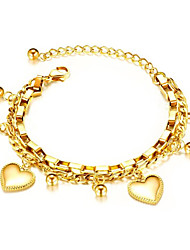 cheap -Women's Chain Bracelet Geometrical Heart Fashion Gold Plated Bracelet Jewelry Rose Gold / Gold / Silver For Daily Work
