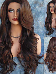 cheap -Synthetic Wig Body Wave Asymmetrical Wig Long Brown Synthetic Hair 27 inch Women's Best Quality Brown