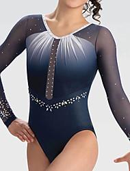 cheap -Gymnastics Leotards Women's Girls' Kids Leotard Spandex High Elasticity Handmade Long Sleeve Competition Dance Rhythmic Gymnastics Artistic Gymnastics Blue Black
