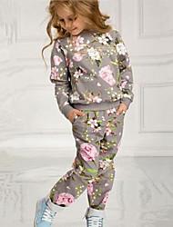 cheap -Kids Girls' Clothing Set Geometric Long Sleeve Gray Basic