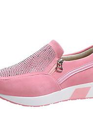 cheap -Women's Sneakers Wedge Heel Round Toe PU Winter Black / White / Pink