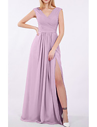 cheap -Sheath / Column V Neck Floor Length Chiffon Bridesmaid Dress with Sash / Ribbon / Split Front / Ruching