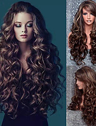 cheap -Synthetic Wig Curly Asymmetrical Wig Long Brown Synthetic Hair 24 inch Women's Best Quality curling Brown