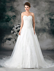 cheap -A-Line Sweetheart Neckline Court Train Organza / Satin Strapless Plus Size Wedding Dresses with Buttons / Beading / Embroidery 2020