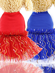 cheap -Dog Cat Dress Sweet Style Sweet Dog Clothes Red Blue Costume Polyester XS S M L XL XXL