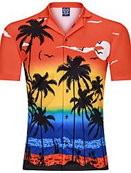 cheap -Men's Beach Basic Shirt - Color Block Tropical Leaf, Print Orange