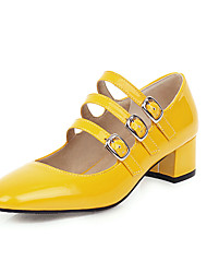 cheap -Women's Heels Low Heel Square Toe Buckle Patent Leather Casual / Minimalism Spring & Summer Black / White / Yellow