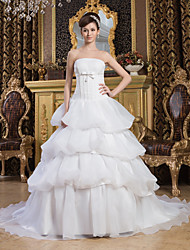 cheap -Ball Gown Wedding Dresses Strapless Court Train Organza Satin Strapless with Pick Up Skirt Bow(s) 2021