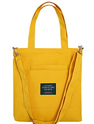 cheap -Women's Zipper Canvas Top Handle Bag Solid Color Yellow