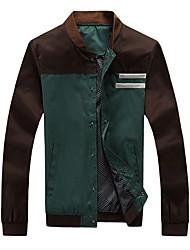 abordables -Homme Quotidien / Sports / Travail Printemps / Automne / Hiver Normal Veste, Bloc de Couleur Mao Manches Longues Coton Vert