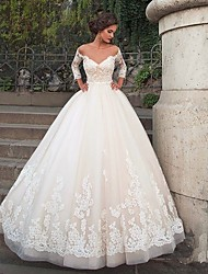 cheap -Ball Gown Bateau Neck Chapel Train Nylon / Lace / Tulle 3/4 Length Sleeve Beautiful Back / Illusion Sleeve Wedding Dresses with Appliques 2020