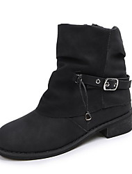 cheap -Women's Boots Flat Heel Round Toe Suede Booties / Ankle Boots Fall & Winter Black / Brown / Blue