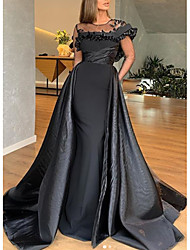 cheap -A-Line Jewel Neck Sweep / Brush Train Satin Elegant Engagement / Formal Evening Dress with Ruffles 2020