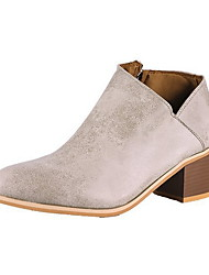 cheap -Women's Boots Chunky Heel Round Toe Suede Booties / Ankle Boots Fall & Winter Brown / Gray / Khaki