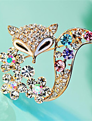 cheap -Women's Cubic Zirconia Brooches Geometrical Fox Stylish Gold Plated Brooch Jewelry Golden Rainbow For Daily Work