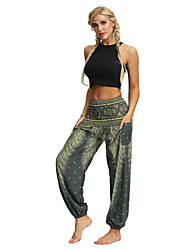 cheap -Women's High Waist Yoga Pants Harem Smocked Waist Bloomers Quick Dry Breathable Bohemian Hippie Boho Light Brown Dark Purple Dark Red Fitness Gym Workout Dance Sports Activewear Stretchy Loose
