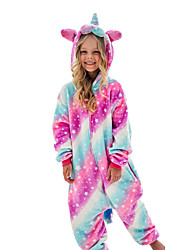 cheap -Kid's Kigurumi Pajamas Unicorn Flying Horse Onesie Pajamas Flannel Fabric White+Blue / Blue / Pink Cosplay For Boys and Girls Animal Sleepwear Cartoon Festival / Holiday Costumes / Leotard / Onesie