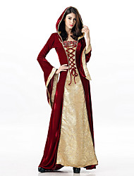 cheap -Witch Dress Cosplay Costume Adults' Women's Dresses Halloween Halloween Carnival Masquerade Festival / Holiday Plush Fabric Red Carnival Costumes Solid Colored