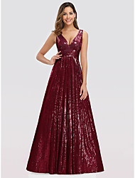 cheap -A-Line Elegant Wedding Guest Prom Formal Evening Dress Plunging Neck Sleeveless Floor Length Nylon Polyester with Sequin 2020
