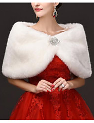 cheap -Sleeveless Capelets Faux Fur Wedding Women's Wrap With Crystal Brooch