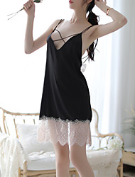cheap -Women's Lace / Backless / Mesh Babydoll & Slips / Gartered Lingerie / Robes Nightwear Patchwork / Jacquard / Solid Colored Black S M L