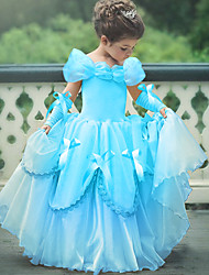 cheap -Princess Belle Vintage Dress Gloves Party Costume Flower Girl Dress Girls' Kid's Costume Yellow / Pink / Sky Blue Vintage Cosplay Sleeveless