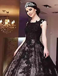 cheap -A-Line Jewel Neck Court Train Lace / Satin / Tulle Regular Straps Black Wedding Dresses with Appliques 2020