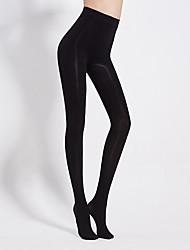 Недорогие -Жен. Средней плотности Колготы - Однотонный / Мода 80D Черный Винный Светло-коричневый Один размер