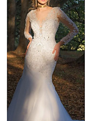 cheap -Mermaid / Trumpet V Neck Court Train Tulle / Charmeuse Long Sleeve Formal Plus Size Made-To-Measure Wedding Dresses with Beading / Appliques / Lace Insert 2020