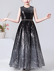 cheap -A-Line Jewel Neck Floor Length Sequined Junior Bridesmaid Dress with Sash / Ribbon
