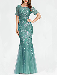 cheap -Mermaid / Trumpet Jewel Neck Floor Length Polyester / Organza Sexy / Plus Size Engagement / Formal Evening Dress with Sequin / Embroidery / Pleats 2020
