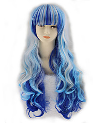 cheap -Synthetic Wig Curly Asymmetrical Wig Long Ombre Blue Synthetic Hair 27 inch Women's Best Quality Blue