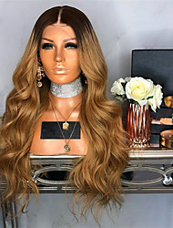 cheap -Synthetic Wig Wavy Asymmetrical Wig Long Ombre Brown Synthetic Hair 27 inch Women's Best Quality Wrap Around Brown Ombre