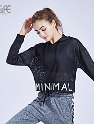 cheap -Women's Crew Neck Yoga Top Cut Out Letter Black Spandex Zumba Yoga Running Tee / T-shirt Short Sleeve Sport Activewear Lightweight Breathable Quick Dry Stretchy Loose