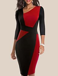 cheap -Women's Sophisticated Elegant Bodycon Sheath Dress - Color Block Patchwork Deep V Cotton White Blue Red S M L XL