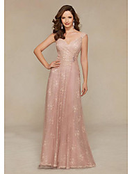 cheap -Sheath / Column Elegant Pink Wedding Guest Formal Evening Dress V Neck Sleeveless Floor Length Lace Satin with Criss Cross Crystals 2020