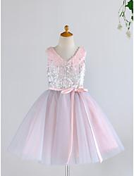 cheap -Ball Gown Knee Length Flower Girl Dress - Tulle / Sequined Sleeveless V Neck with Belt
