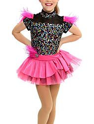 cheap -Kids' Dancewear Dress Cascading Ruffles Wave-like Split Joint Girls' Performance Cap Sleeve Natural Mesh Lycra