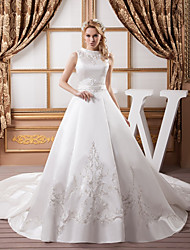 cheap -A-Line Jewel Neck Chapel Train Satin Regular Straps Wedding Dresses with Sashes / Ribbons / Bow(s) / Beading 2020 / Embroidery