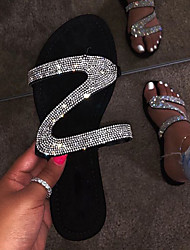 cheap -Women's Sandals Crystal Sandals Flat Heel Open Toe Rhinestone / Sparkling Glitter Suede Business / Casual Spring &  Fall / Spring & Summer Black / Party & Evening / Party & Evening