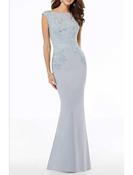 cheap -Mermaid / Trumpet Jewel Neck Floor Length Polyester / Lace Sleeveless Elegant Mother of the Bride Dress with Beading / Appliques 2020