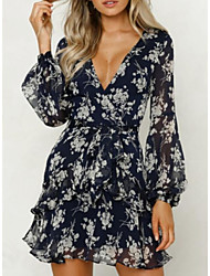 cheap -Women's A Line Dress - Long Sleeve Floral Deep V Navy Blue M L XL XXL XXXL