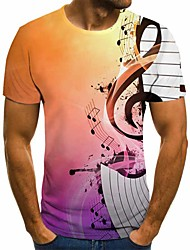 cheap -Men's Plus Size Geometric 3D Pleated Print T-shirt Street chic Exaggerated Daily Going out Round Neck Rainbow / Short Sleeve
