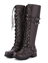 cheap -Women's Boots Low Heel Round Toe PU Knee High Boots Winter Black / Brown / Purple