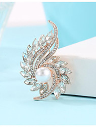 cheap -Women's Cubic Zirconia Brooches Hollow Out Flower Stylish Imitation Pearl Gold Plated Imitation Diamond Brooch Jewelry Golden Silver Blue For Daily Carnival