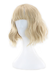 cheap -Synthetic Wig Curly Neat Bang Wig Short Blonde Synthetic Hair 13 inch Women's Best Quality Blonde