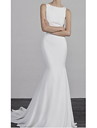 cheap -Mermaid / Trumpet Wedding Dresses Bateau Neck Court Train Charmeuse Regular Straps Formal Plus Size with Appliques 2020